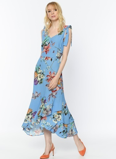 Random V Yaka Çiçekli Uzun Elbise Mavi